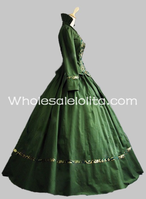New Green Cotton & Brocade Gothic Victorian Gown Period Dress ...