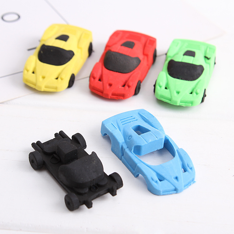 4 Pcs Car Model Eraser Cartoon Dismountable Creative Toy Lovely Rubber Learning Stationery Eraser Kawaii Stationery For Kids