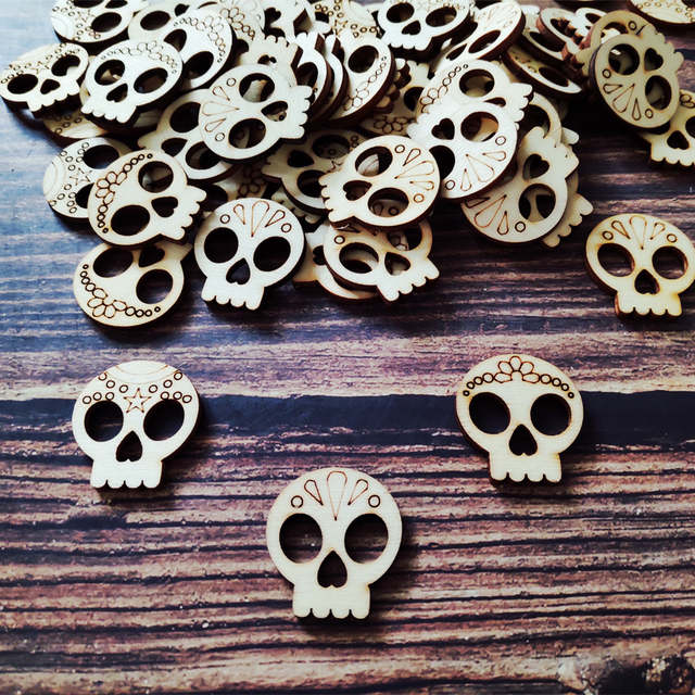 50pcs Rustic Wooden Sugar Skulls Laser Cut Engraved Day Of The Dead Skulls Ideal For Table Confetti Scrap Booking Projects