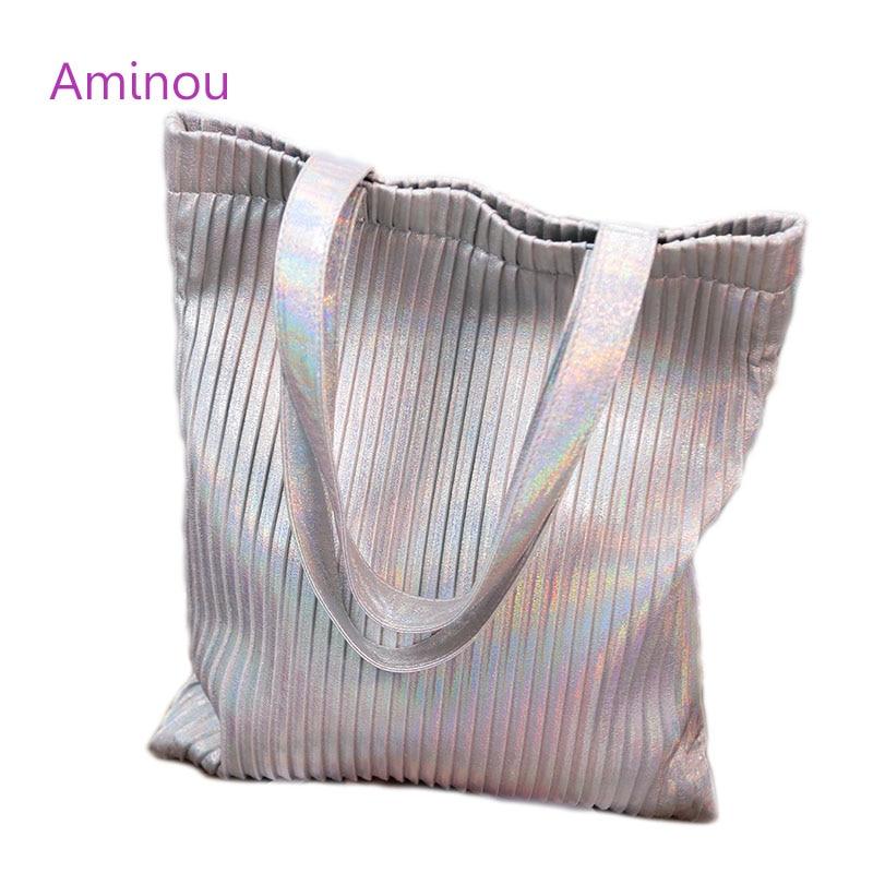 2017 summer  fashion women laser beach bag luxury handbags woman designer casual stripe tote bag large handbag