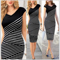 2016 Top Quality Women Vintage Dresses Knee-Length V-Neck Short Sleeve Striped Party Bodycon Pencil Strech Dress Plus Size S M L