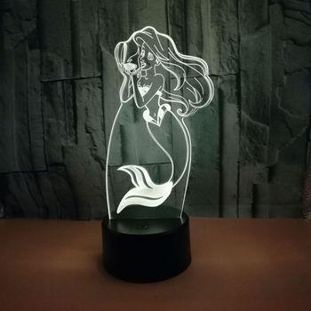 3d Noite Candeeiros De Mesa Para Sala de estar Da Sereia Colorido Desk Lamp Toque Usb Alimentado Acrílico 3d Home Lighting
