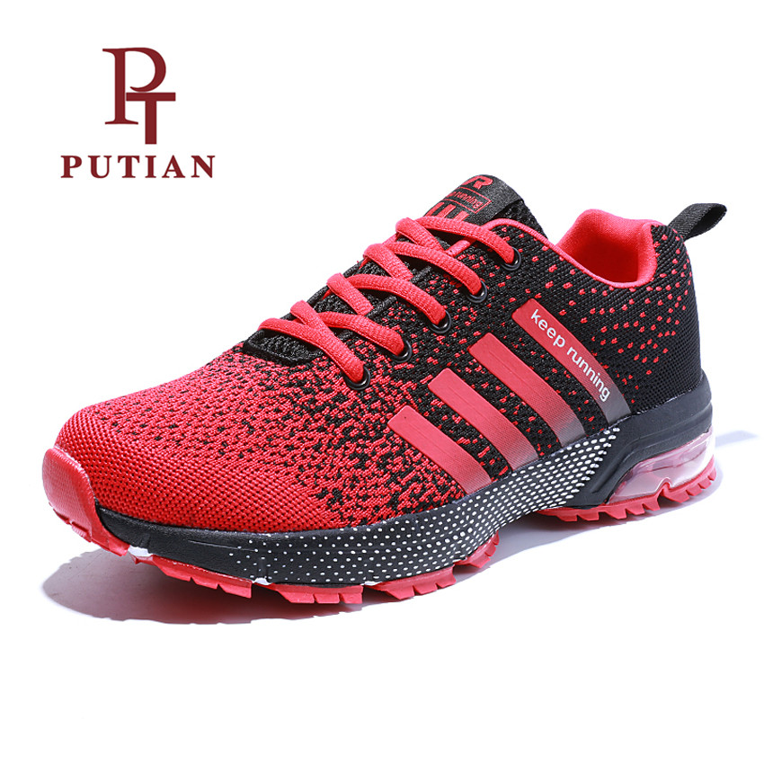 PU TIAN 2018 Men Women Running Shoes Flywire Mesh Breathable Outdoor Lovers Sports Shoes Comfortable Athletics Trainer Sneakers
