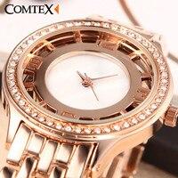 Comtex Fashion Rose Gold Wrist Women Wrist Watch Alloy Strap Ladies Watch Simplicity Casual Quartz Watch