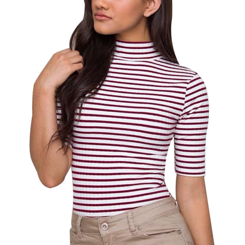 2016 mujeres Tops rayas Negro café algodón camiseta manga corta o-cuello  camiseta Tops short ropa mujer 457e3cd5b1b8