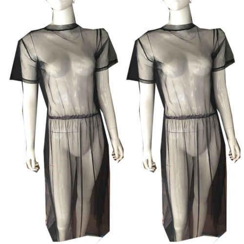 Модные женские платья черное Сетчатое платье прозрачное с коротким рукавом прозрачное летнее платье из тюля