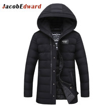 Solid Long Parka Men Long Sleeve Thick Men's Coat 2016 Winter Casual Slim Fit Parks Male 100% Polyester Down Jacket Size M-4XL