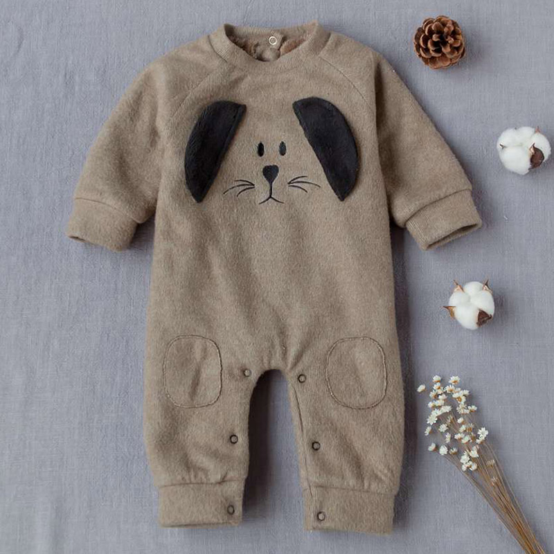YiErYing Baby Clothing Leisure Cartoon Dog Thickening Romper Autumn Winter Thermal Hooded Long Sleeve Newborn Jumpsuits