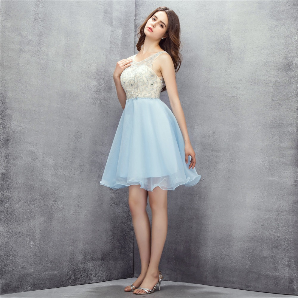 Ice Blue Cheap Prom Gown Dress For Party With Stone Buy Direct From China Sexy Beading Backless Girl Short Graduation