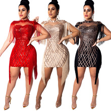 Women New Sequins Tassel Sleeve Side Cutout Stand Neck Sexy Midi Mini Dress Bodycon Bandage Club Party Dresses Vestidos CY8033 cutout side fit