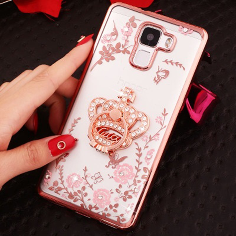 Diamond Garden Case for Galaxy S 5 6 7 edge S9 S8 plus A 3 5 7 J 3 5 7 Note 3 5 8 C9Pro Bottle Glitter 360 Ring peacock Crown