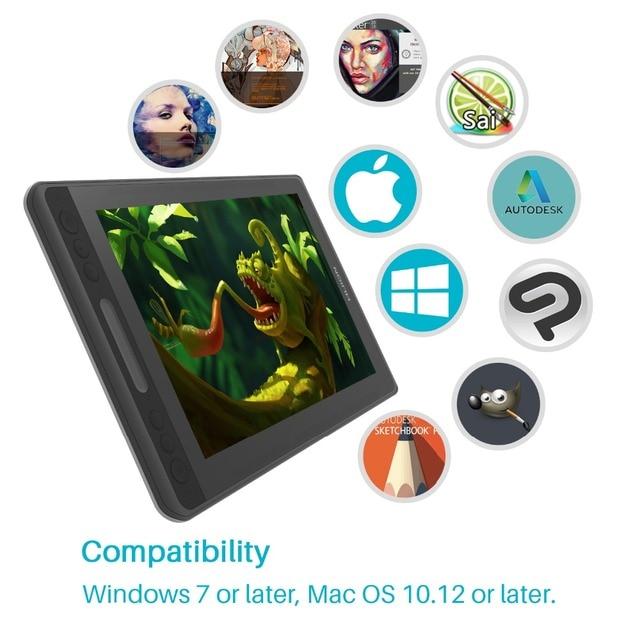 Huion kamvas pro 12 GT-116 tablet digital bateria-livre caneta exibição desenho tablet monitor com função de inclinação ag barra de toque de vidro 4