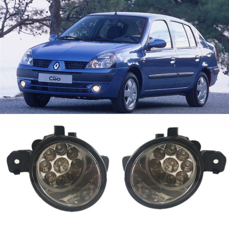 Car Styling For For Renault Clio Symbol 2001-2008 9-Pieces Leds Fog Lights H11 H8 12V 55W Halogen LED Fog Head Lamp бампер передний на renault clio 2001
