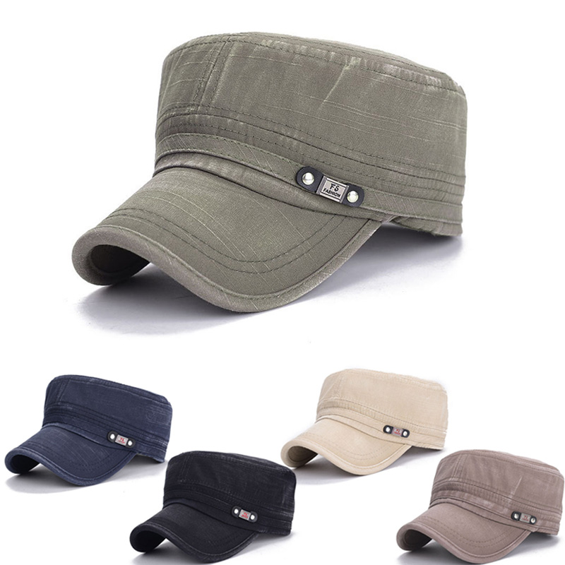 c1273407 New Summer Style Cotton Flat Roof Trucker Hat Baseball Cap Sun Caps For Men  Casquette