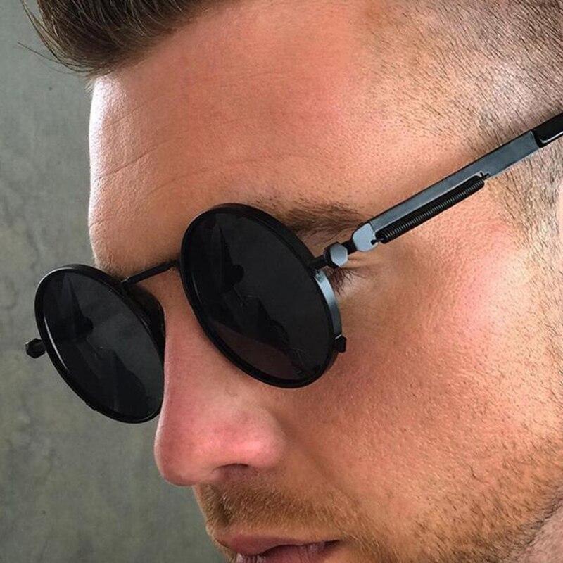 RBUDDY Gold Spring Frame Gothic Sunglasses Men Steampunk Metal Small Retro Round Shades Brand Designer Lentes Oculos of Male Sun