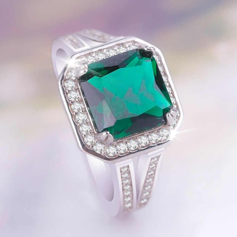 925 เงินสเตอร์ลิง Big block Handmade Unisex แฟชั่นเครื่องประดับคริสตัลผู้หญิง Emerald Imperial jade seal สีเขียวเงิน banquetRing