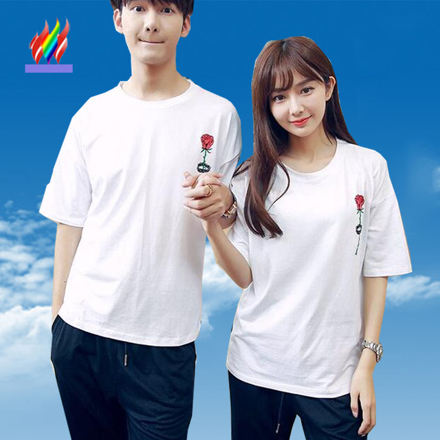 7cbba5b538 Couples Clothes Lovers Cute Sweet Tops Designer Loose Casual T-Shirt White  Floral Printed Korean Matching T Shirts For Couple