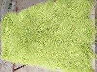 2018 Genuine Light Green Real Mongolian Fur Rug Curly Plate Tibetan Fur Blanket Hide Carpet New Long Wool 2'x4'