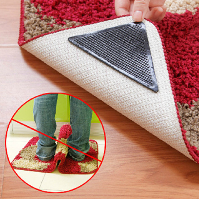 Y140 Rug Carpet 4 pcs/set Mat Grippers Non Slip Anti-skid Reusable Washable Grip For Home Bath Living Room carpet Accessory