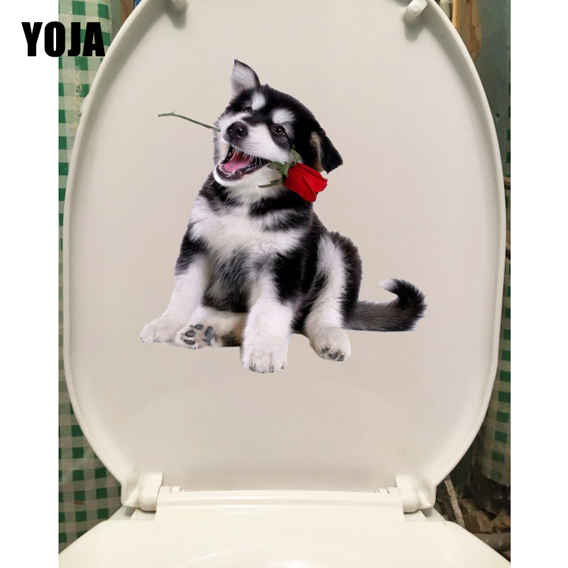 YOJA 20.9*22.9CM Husky With Roses In His Mouth Animal Wall Sticker Toiltte Decor Toilet Decal T1-0321
