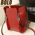 2016 New Arrive Women Handbags High Quality Tassel Rivet Handbag Leather Bucket Bag Women Messenger Bags Female Crossbody Bolsas