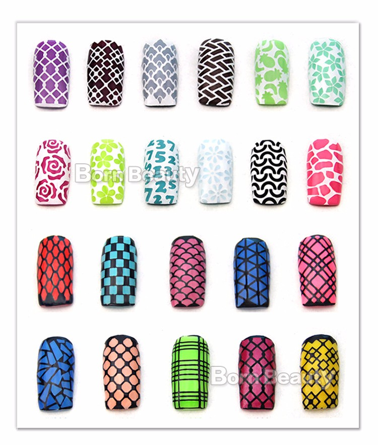 1sheet Silver Hollow Nail Art Template Stencil Stickers Fish Scale Vinyls Image Polish Design Guide Manicure Tools 17