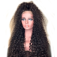 DLME 26inch Long Afro Kinky Curly Synthetic Lace Front Wigs With Baby Hair 180density Black Hair Wig For African American women