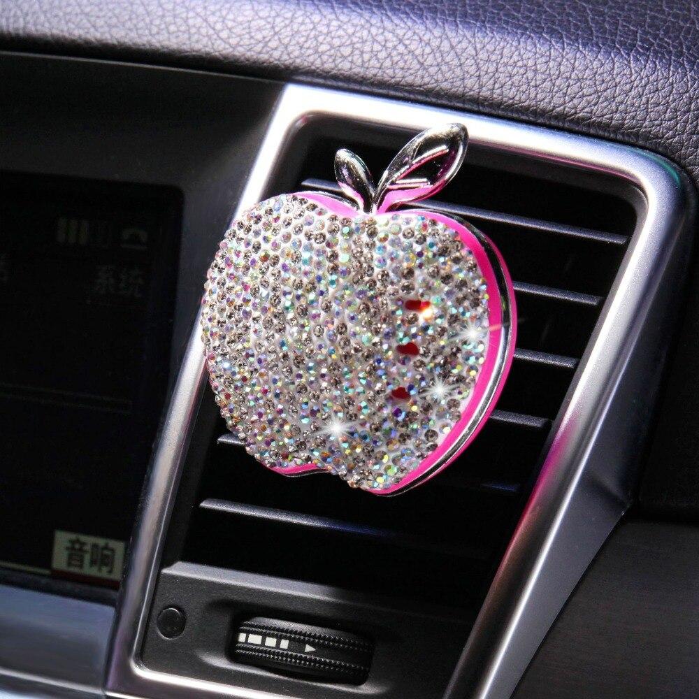 Carro do carro do refrogerador de ar tomada de ar diamante-incrustado apple carro aromaterapia carro sólido fragrância perfume ornamento automóvel acessórios