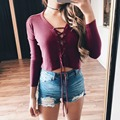 Fashion New Women Deep V Neck Lace Up Sexy T-shirt Silm Fit Crop Top Ladies Casual Solid Long Sleeve Tee Shirts Blusas 22