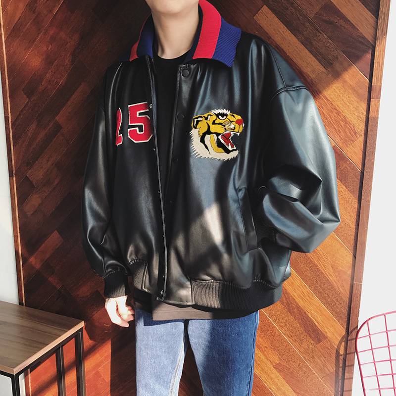 Super Sale Spring Autumn Winter Youth Popularity Black Tiger Head Printed Collar Detachable Men Boy PU Casual Leather Jacket