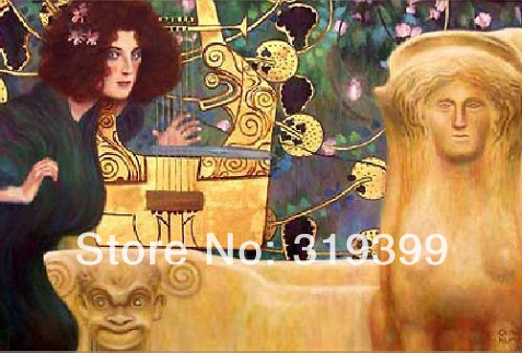 Oil Painting reproduction on Linen Canvas,Music II by gustav klimt ,Free Fast Shipping,100% handmade,Museam QualityOil Painting reproduction on Linen Canvas,Music II by gustav klimt ,Free Fast Shipping,100% handmade,Museam Quality