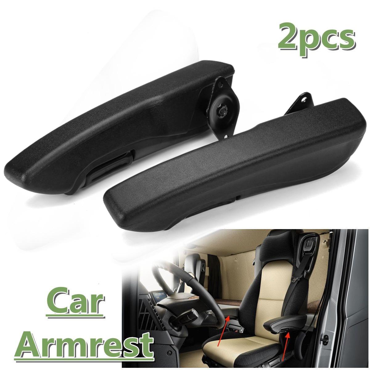 2pcs Universal Car Adjustable Armrests Arm Seat Handle Engineering Seat Hand Rail Pair Comfortable Rest PU