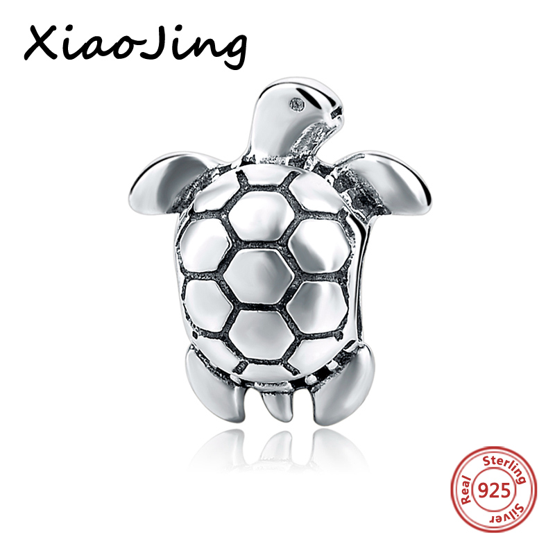 Fit Pandora charm beads Original Women Bracelets Lovely 925 Sterling Silver jewelry The Tortoise Charms Beads DIY Jewelry Making