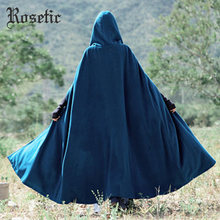 Rosetic Poncho Femme Cape Women Hooded Halloween Gown Poncho Cape Blue Chic Ladies Stylish Gothic Hooded Wool WinterWarm Capes(China)