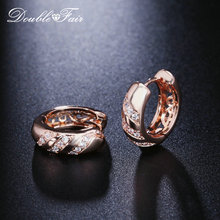Double Adil Fashion Hoop Anting-Anting untuk Wanita Cubic Zirconia Crystal Rose Gold Warna Hotsale Piercing Perhiasan Anting-Anting DFE829M(China)
