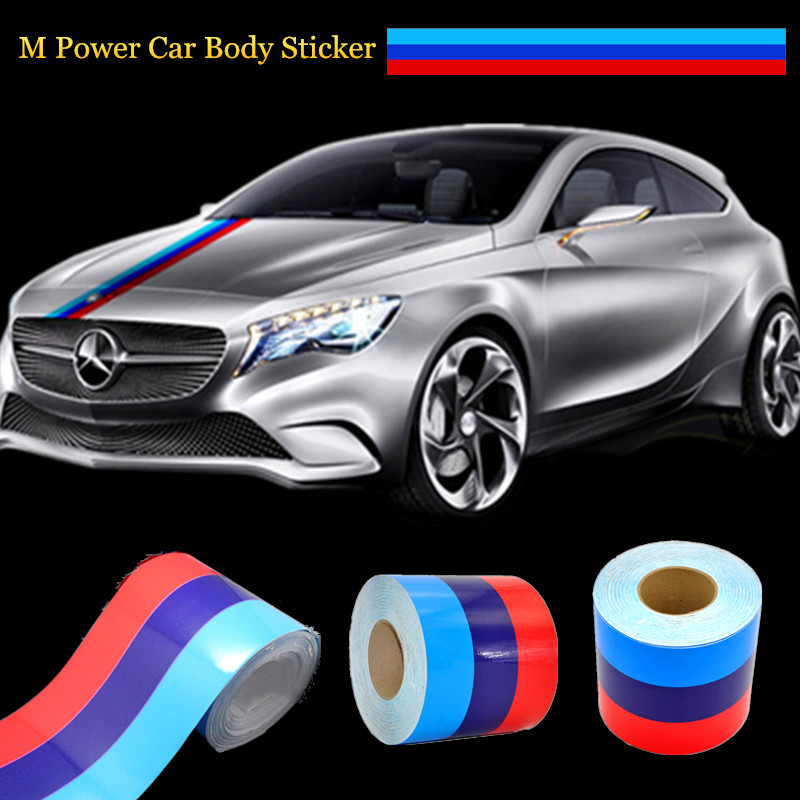 Car-styling 1.5M/2M/3M M-Colored Stripe Car Hood Vinyl Sticker Body Decal Logotipos For BMW M M3 M5 M6 3/5/7 Series