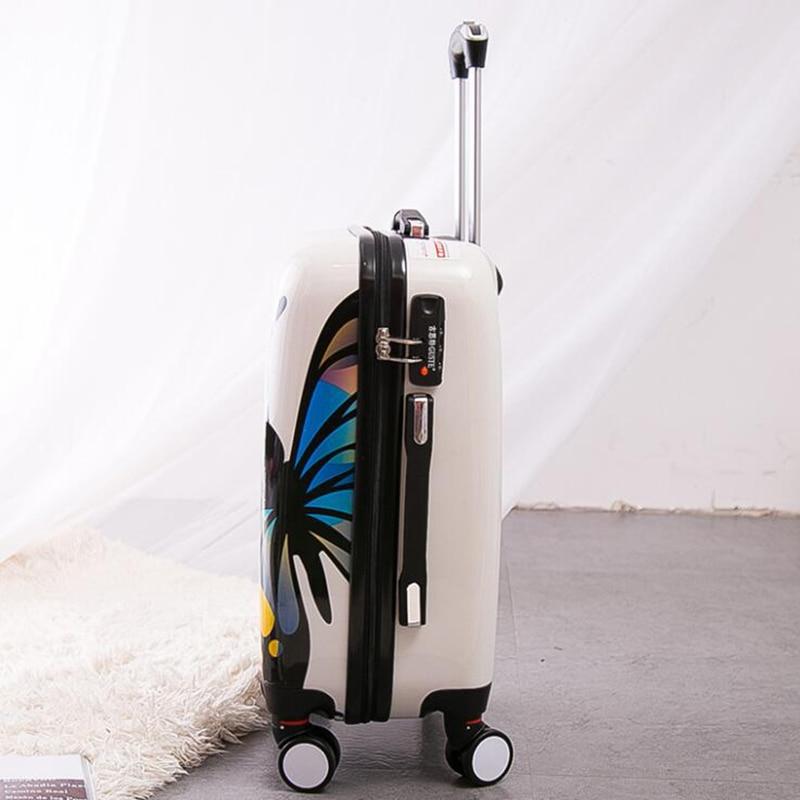 """Carrylove kobiety rolling przechowalnia zestawy 20 """"24"""" cal motyl walizka podróżna wózek torba na kółkach w Walizki od Bagaże i torby na  Grupa 3"""