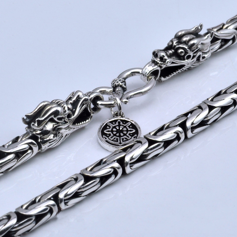 Real Pure 925 Sterling Silver Necklace Men Double Dragon Heads Vintage Handmade Clavicular Chain Necklace Male