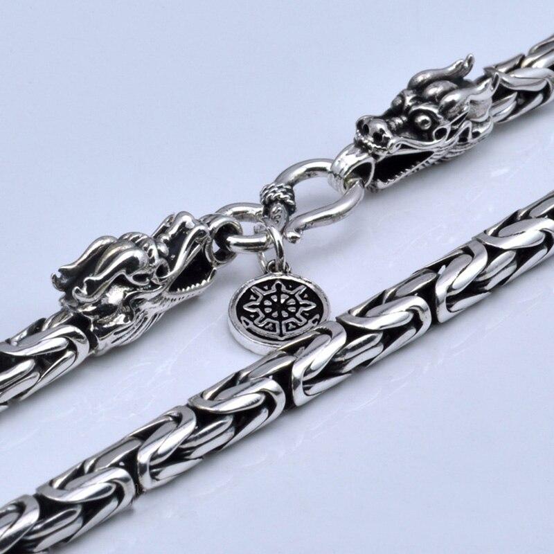 Véritable pur 925 collier en argent Sterling hommes Double Dragon têtes Vintage fait à la main claviculaire chaîne collier mâle bijoux fins
