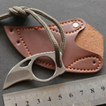 Outdoor Survival Camping Carabiner Claw Knife Survival Karambit Ring Card Knife EDC Tool Mini Pocket Knife with Leather Sheath