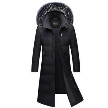 High Quality Mens Winter Parkas Long Fashion Thick Warm Oversize S-6XL Fur Collar Down Jackets Zipper Hooded Overcoat Outerwear