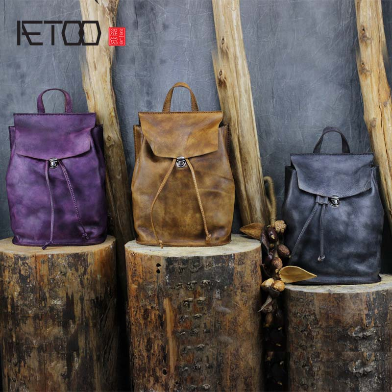 AETOO Female Backpack Genuine Leather Travel Bag Women Fashion Style School Bag Brand Tendy Backpack Ladies zoole brand genuine leather backpacks women school style cowhide travel bag ladies real leather backpack female designer mochila