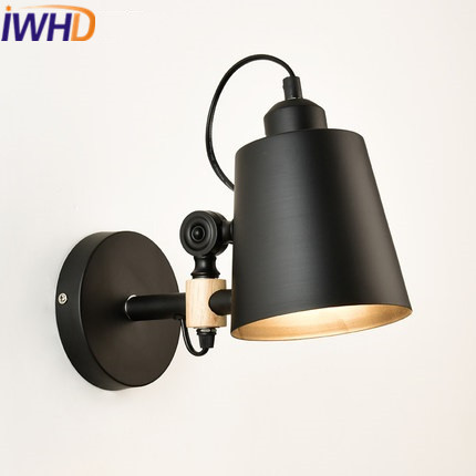 IWHD Style Loft Industrial LED Wall Light Fixtures Home Lighting Sairs Angle Adjustable Arm Sconce Wood Retro Wall Lamp american loft style industrial antique wall light fixtures creative arm wall lamp simple adjustable angle wall sconce lamparas