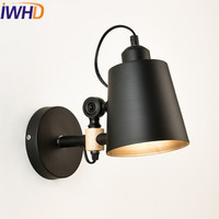 IWHD Style Loft Industrial LED Wall Light Fixtures Home Lighting Sairs Angle Adjustable Arm Sconce Wood Retro Wall Lamp