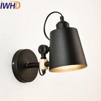 IWHD estilo Loft Industrial LED lámparas de pared iluminación del hogar Sairs ángulo ajustable brazo Sconce madera lámpara de pared Retro