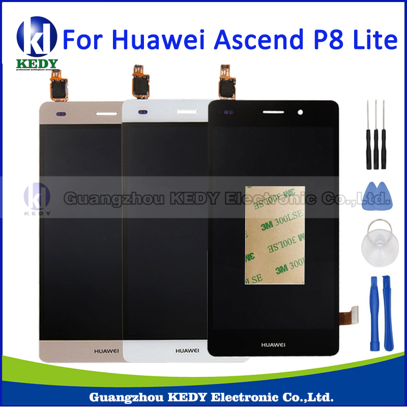 For Huawei Ascend P8 Lite LCD Display+Touch Screen Digitizer Glass Panel Replacement Assembly 5.0 Inch Black White Gold+Tools brand new lcd display touch screen digitizer assembly for huawei ascend p8 lite replacement parts