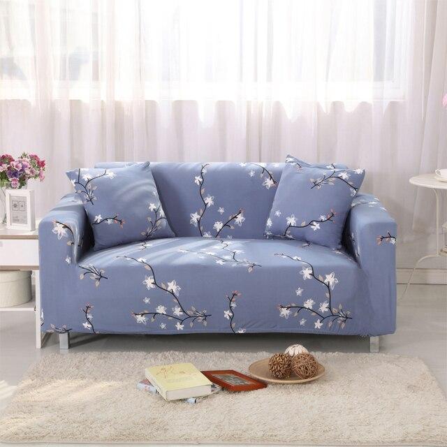 ספה מכסה ספה מכסה אפור מודפס פוליאסטר סטרץ אלסטי מגן דפוס פרחים לבנים ספה מכסה V20