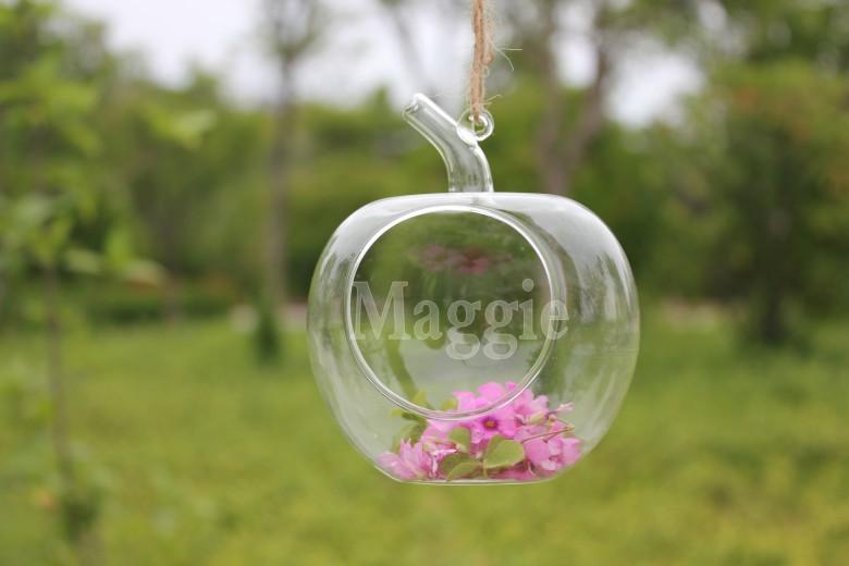 colgando ollas de vidrio forma de manzana terrario jarrones de flores hidropnico un agujero grande olla
