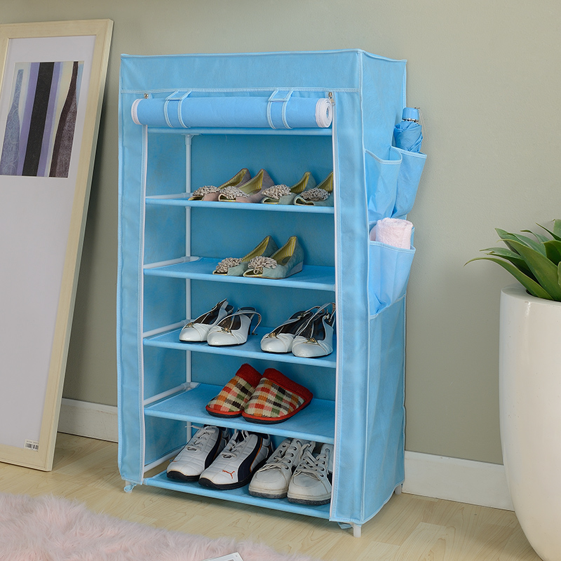 Living space cloth hall closet shoe rack storage with curtains door