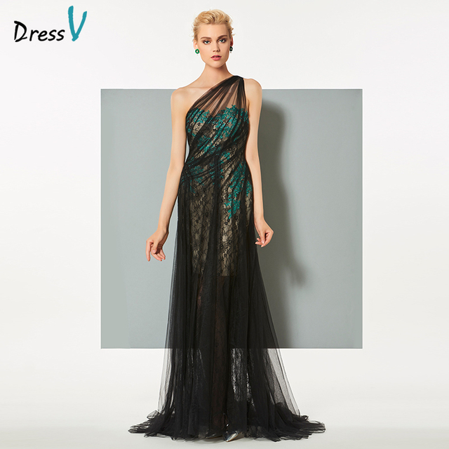 1e670183f6e70a Dressv black long elegant evening dress one shoulder a line sweep train  tulle wedding party formal dress lace evening dresses